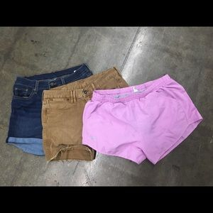 Lot of 3 pairs UA Levi's Jean pink brown shorts